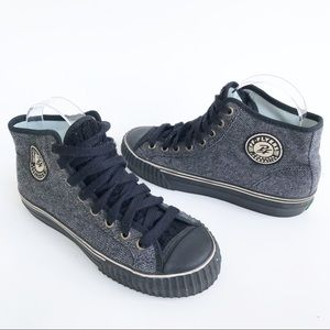 PF Flyers Gray Twill Wool High Top Sneakers